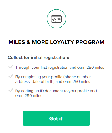 250 miles at Miles&More