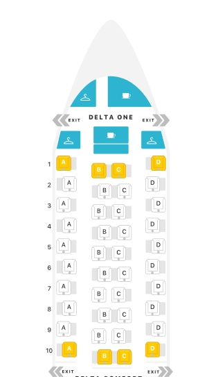 All Delta ONE SUITE routes with flight numbers - Premium
