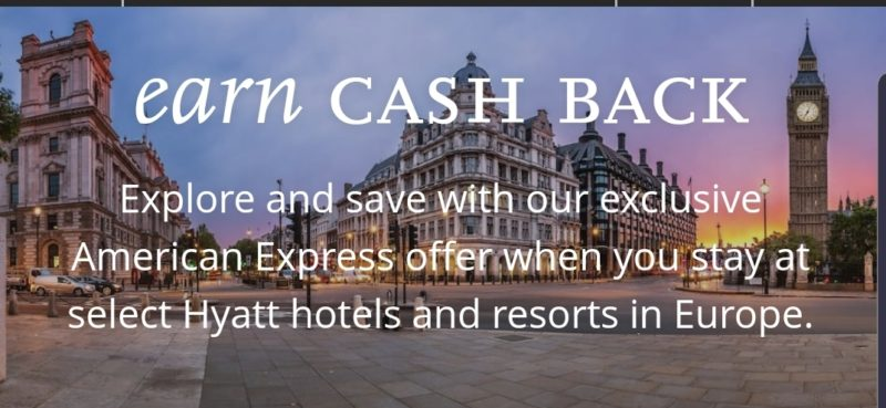 Hyatt 60 Cashback If You Book With An De Fr Amex Card At