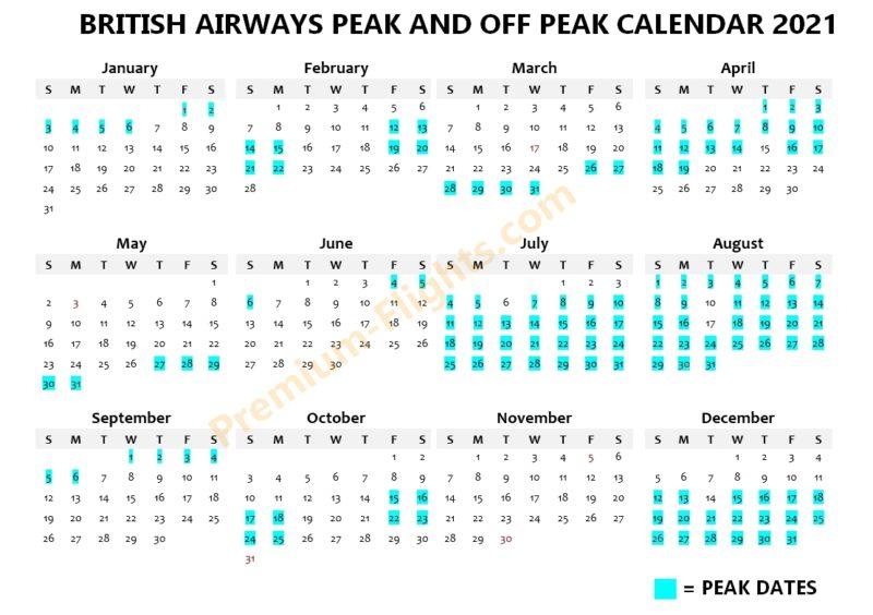 BA avios peak calendar 2021